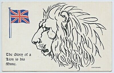 Ww1 Npu Postcard The Glory Of A Lion Is His Mane Allies Nz Aust India Africa X75