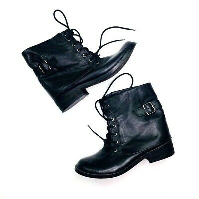 6e8e494999bb MIA Womens Shoes Leather Boots Moto Buckle Motorcycle Black Lace Up Size 7