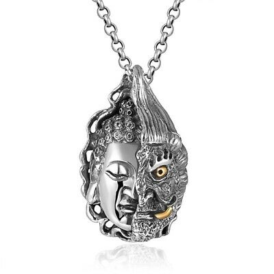 Men Buddha Pendant Real Pure 925 Sterling Silver Heavy Big Vintage Punk Jewelry