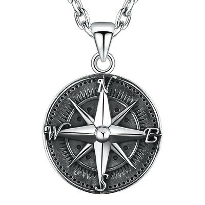 Men Round Compass Pendant Gothic 925 Sterling Silver Vintage Punk Rock Jewelry