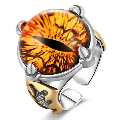 Men Yellow Cubic Ring 925 Sterling Silver Zircon Vintage Big Stone Punk Jewelry