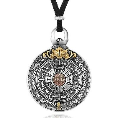 Men Round Pendant Necklace 925 Sterling Silver Zodiac Signs Vintage Jewelry