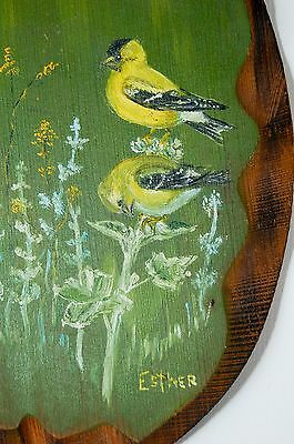 hand painted Goldfinch Redwood wall art home decor Esther Kuehl