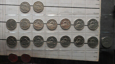 Canada Date Run 1938 to 88 5  Cent of 19 coins Bulk lot mainly QEII and UNC NICE