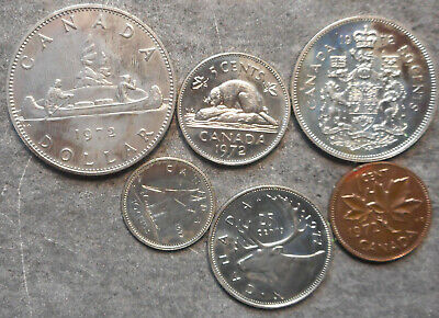 Canada  1972 coins to One Dollar   ex Set some light tone