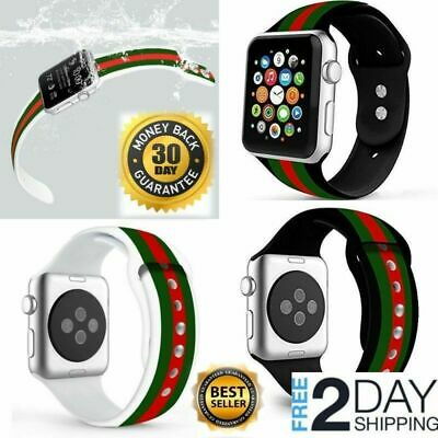 7b5ec5d7663 Apple Watch Band Gucci white Iwatch Silicone 44mm 42mm Series 2 3 4  Accessories