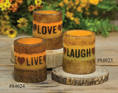 NEW!! Primitive Country Rustic LIVE,LOVE,LAUGH Battery Oper. Timer Pillar Candle