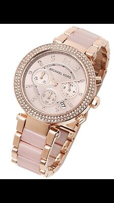 New Michael Kors Parker Rose Gold Blush Watch for Women Blush Crystal Set MK5896