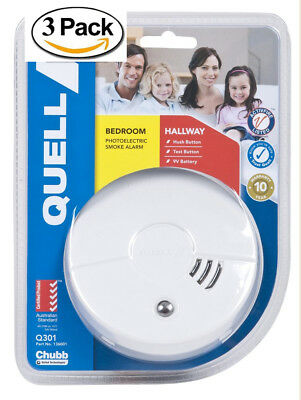 3 x Quell Smoke Alarm Detectors includes 9v Batteries And Mounting Kits (New)