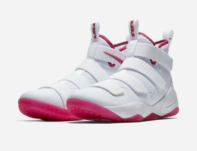 new style 121e4 249c3 Nike Lebron Soldier XI Basketball Shoes White Pink 897644 102 Men s 10 New