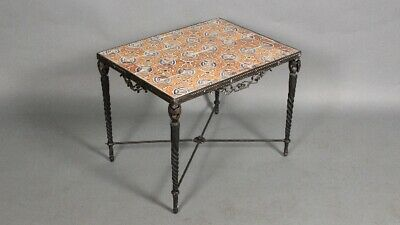 Antique 1920's Fine Metal Table With Vintage Tiles Spanish Revival Style (11716)