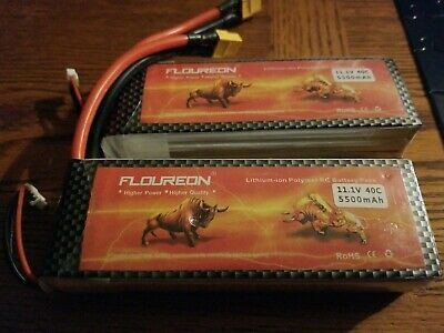 FLOUREON 2Packs 3S 11.1V 5500mAh 40C Lipo Battery Pack with XT60 Plug for RC ...