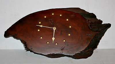 Vintage Handmade Walnut Slab Wood Wall Clock -Working But Minute Hand Is Loose-