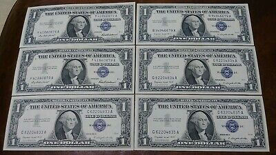 6 CRISP UNCIRCULATED 1957 Silver Certificates One Dollar $1 bill Blue Seal Notes
