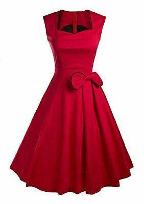 YACUN Women's Vintage Red 1920s Rockabilly Swing Cocktail Party Dress Size Small