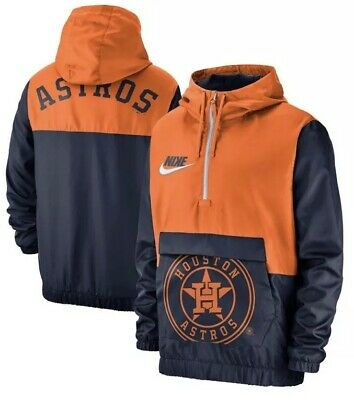 7036bb4a3d6d4 Nike Men s Houston Astros 1 2 Zip Anorak Hooded Jacket Pullover Large L MLB