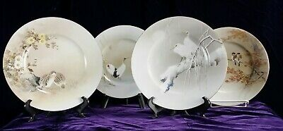 Set 4  Fine Handpainted Kutani Bird Plate Signed Japanese Moriage Antique Euc