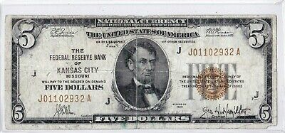 1929 $5 Kansas City Missouri Federal Reserve Bank Note Brown National Currency