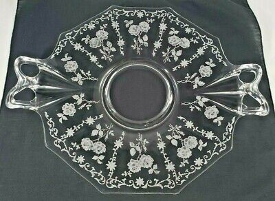 """Plate Cake Cookie Glass Serving Etched Handled Roses 8 sided 12.5"""" x 9.5"""" Clear"""