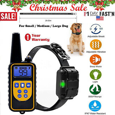Dog Shock Collar W/Remote Waterproof Electric for Large 875 Yard Pet Training US