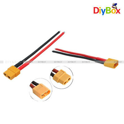 2PCS 14AWG XT60 Male and Female W/ Housing 10CM Silicon Connector Wire Cable