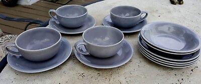 Vernon Kilns Casual California Vernonware Gray Dishes lot of 14 Cups Saucers +