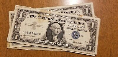 Lot of 6 Well Circulated 1957 Silver Certificates Note Dollar Bills
