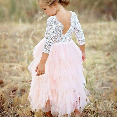 Flower Girl Lace Backless Tutu Tulle Dress Wedding Party Birthday Princess Gown
