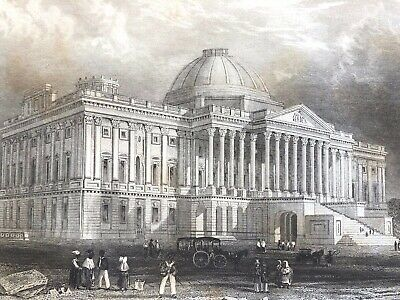 """1846 Steel Engraving PRINCIPAL FRONT of the CAPITOL WASHINGTON 5""""x8""""  Antique"""