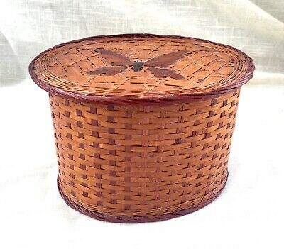 Antique Hand Woven Bamboo & Wood Basket with Lid - Butterfly Asian Japan/China