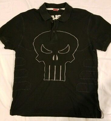 44bf6bb3d Marvel The Punisher Punishment Black Polo Shirt Embroidered Mens Size Medium