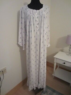 9b1e294ae8f3 SIZE 1X ~EILEEN West~ Long White Knit Nightgown wBlue Rose Buds NWT ...