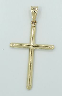 Very Nice 18K Yellow Gold Sleek Religious Cross Necklace Pendant B2412