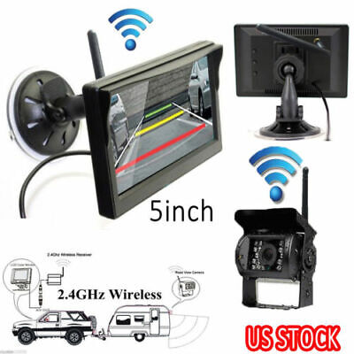 """Wireless IR Rear View Back up Camera Night Vision System+5"""" Monitor for RV Truck"""