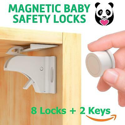 Magnetic Baby Proof Child Safety Cabinet Locks for Drawers Cupboards Set of 8