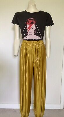 Womens Vintage 80s Highwaisted Gold Mustard Pleated Genie Harem Pant S/M