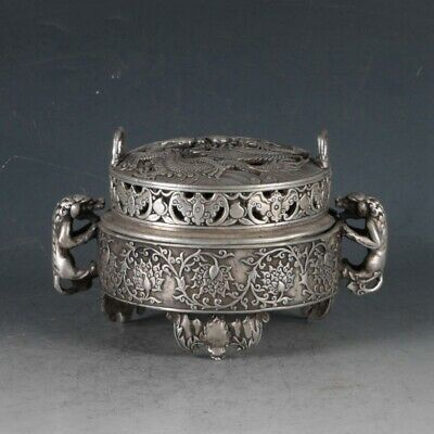Chinese Silvering Copper Dragon Incense Burner Made By The Royal QianlongBT0081a