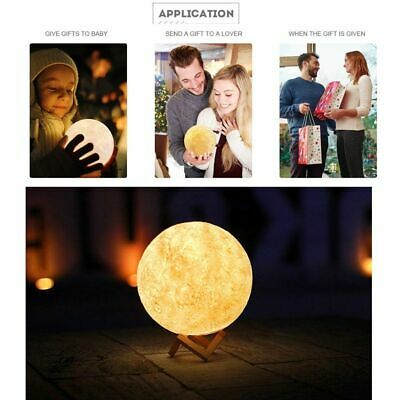 3D Printing Moon Lamp USB LED Night Lunar Light Touch Color Changing +Wood Stand