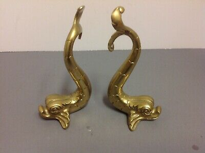 F Abela and Sons Brass Chinese Dragon Fish Malta Heavy Vintage BOOKENDS