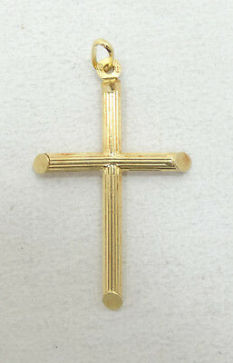 Very Nice 14K Yellow Gold Religious Textured Cross Charm Pendant A3866