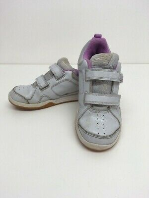 Girl's Child's Nike White & Purple/Pink Hook & Loop Fastening Trainers Size Uk 2