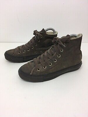 Unisex Converse All Star Brown Leather Lace Up Faux Fur Lined Boots Size Uk 3