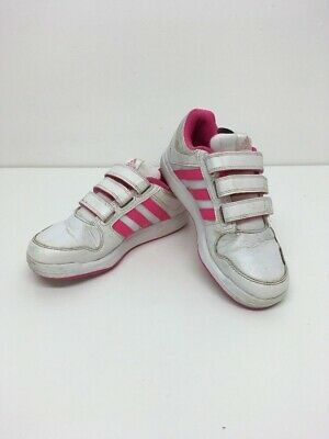 Girl's Child's Adidas Pink & White Trainers Hook & Loop Fastenings Size Uk 1