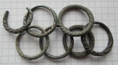 Viking period selection 7 bronze psevdo-twisted rings