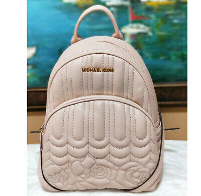 ca25b52be982e MICHAEL KORS ABBEY MEDIUM Backpack In BALLET PINK Floral Quilted Leather