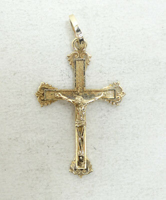 Nice Vintage 14K Yellow Gold Religious Jesus Crucifix Cross Pendant A6723