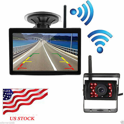"""Wireless IR Rear View Backup Camera Night Vision +5"""" Monitor for RV Truck Bus"""