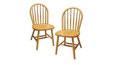 Windsor Dining Chairs Set Of 2 Solid Wood Traditional Kitchen Natural New