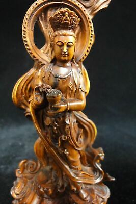 "Amazing Old Chinese Hand Carving Boxwood ""Guanyin"" Buddha Statue Sculpture"