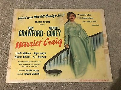 ORIGINAL LOBBY CARD 11x14: Harriet Craig (1950) Joan Crawford, Wendell Corey